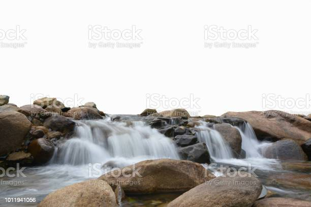 Photo of Waterfall and stone on white background