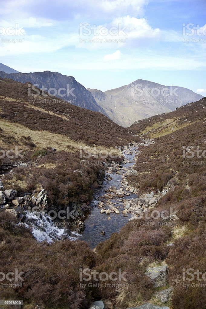 Waterfall and stream near Haystacks royalty-free stock photo