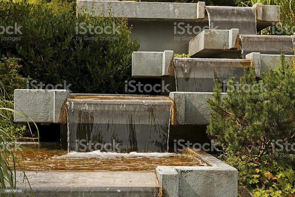 Waterfall at a fountain royalty-free stock photo