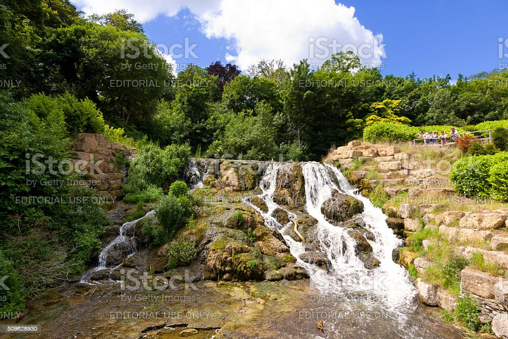 Waterfall at Blenheim Palace, Woodstock, Oxfordshire, England, United Kingdom. stock photo