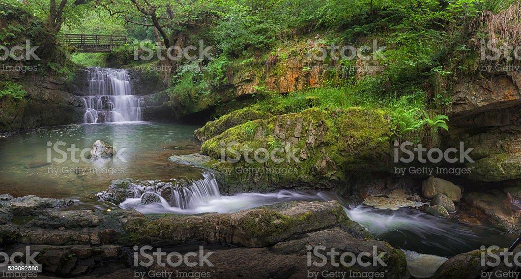 Waterfall at Dinas Rock stock photo