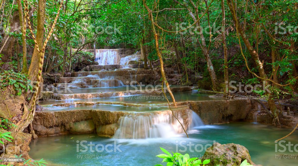Waterfall at Kanchanaburi, Thailand stock photo