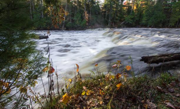 Waterfall At Lower Falls Tahquamenon State Park In Michigan stock photo