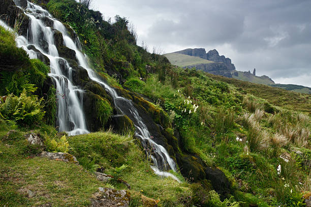 Waterfall at Oldman Storr stock photo
