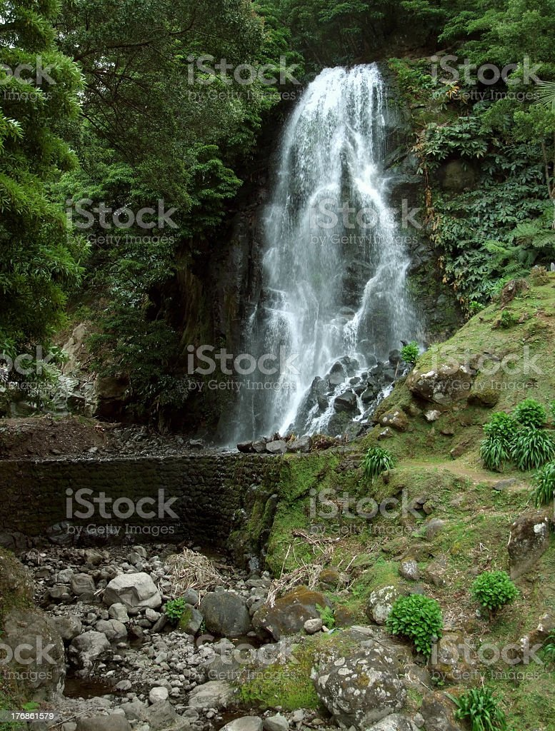 waterfall at Sao Miguel Island royalty-free stock photo