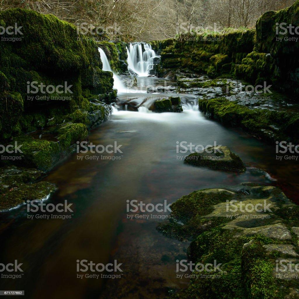 Waterfall at Sgwd Isaf Clun-Gwyn stock photo