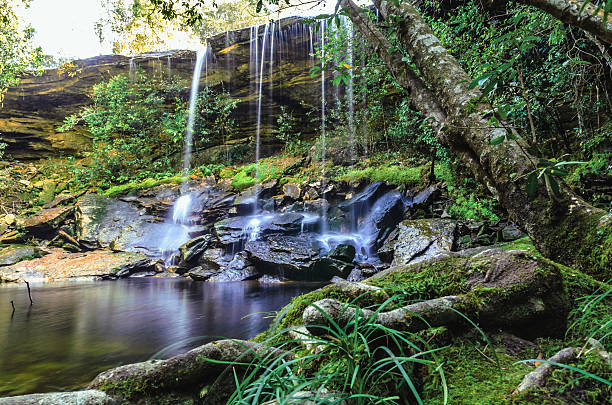 Waterfall at the beginning of Autumn in nature stock photo