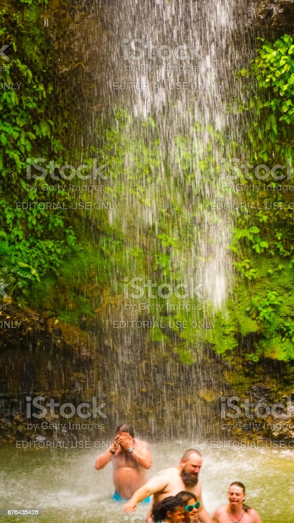 A waterfall at the Botanical Gardens in Saint Lucia stock photo