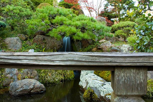 Waterfall at The Japanese Tea Park stock photo