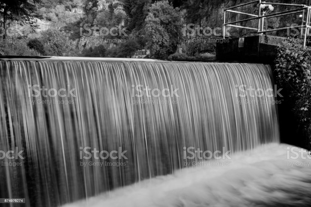 Waterfall at the Mill in Cheddar in Somerset stock photo