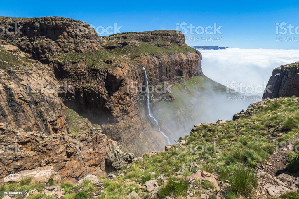 Waterfall at the top of Sentinel Hike, Drakensberge, South Africa stock photo