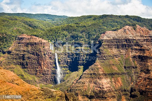 A waterfall in the Waimea Canyon on the west side of the island of Hawaii.