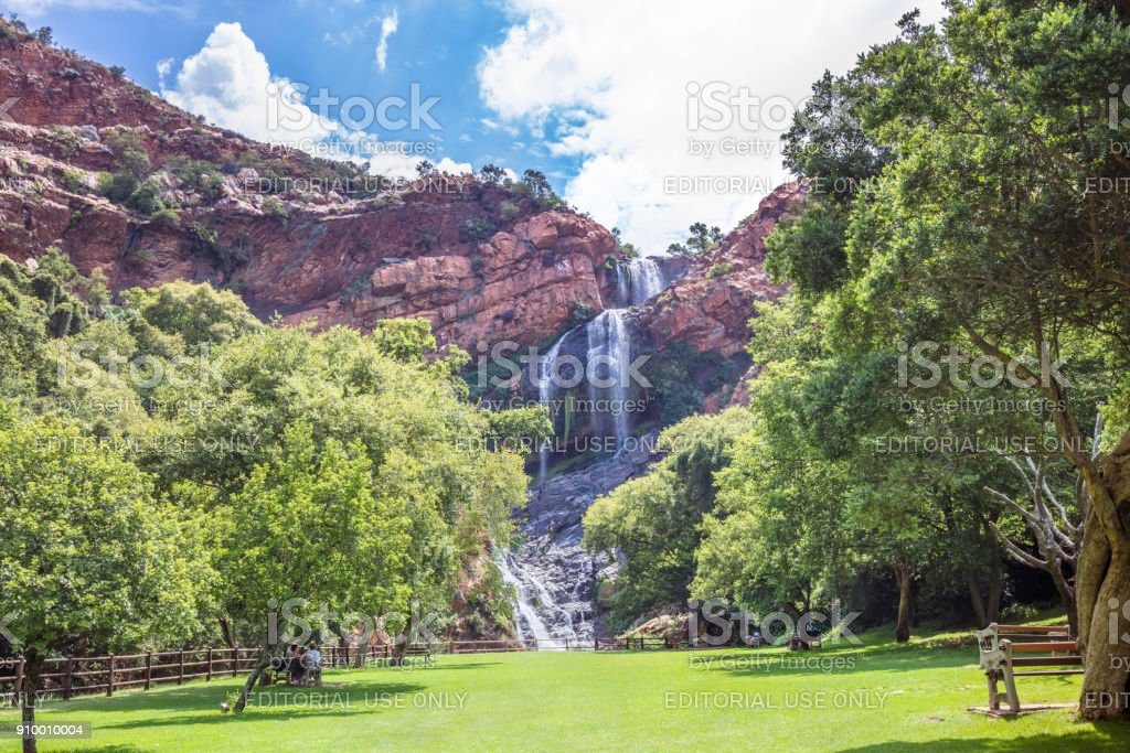 Waterfall at the Walter Sisulu Botanical Gardens stock photo