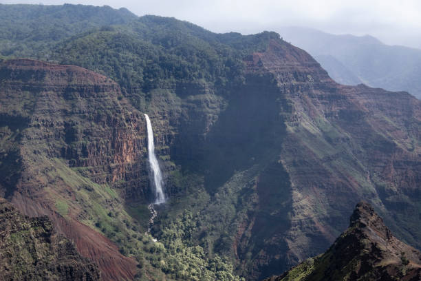 Waterfall at Waimea Canyon stock photo