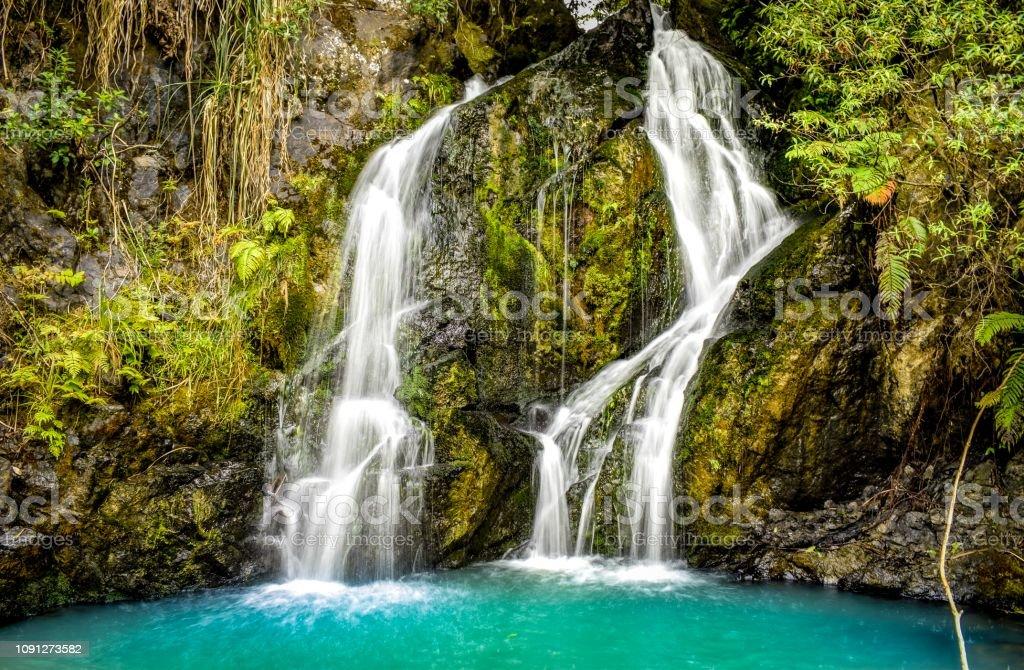 Waterfall at Wairoa Reservoir Auckland New Zealand stock photo