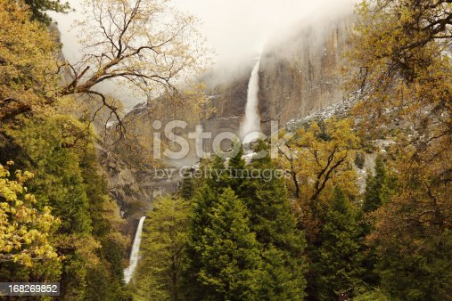 view of Yosemite National Park  waterfall at sunrise in spring
