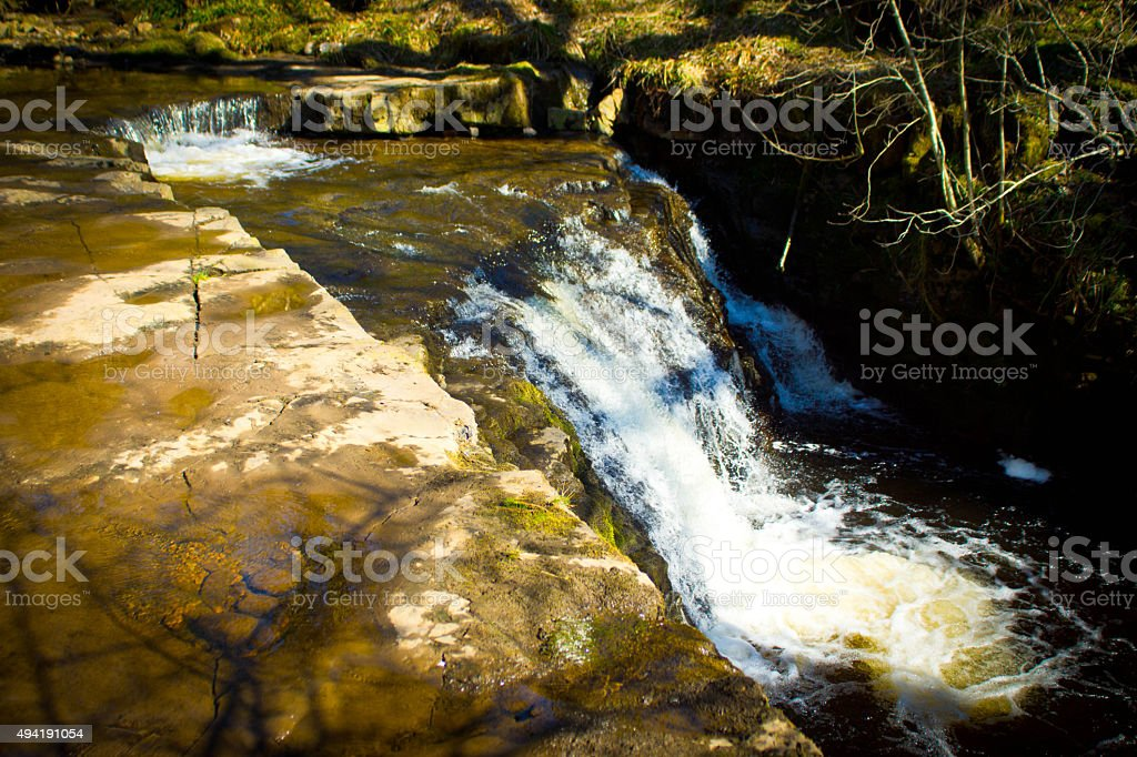 Waterfall below Ashgill Force Cumbria stock photo