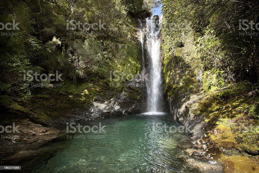 Waterfall, Boulder Lake, Kahurangi National Park,New Zealand stock photo