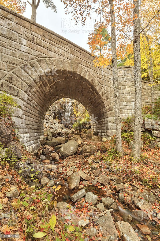 Waterfall Bridge, Autumn, Acadia National Park royalty-free stock photo