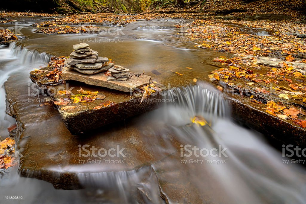 Waterfall Cairn stock photo