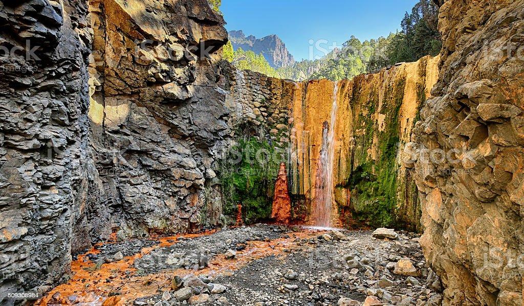 Wasserfall Cascada de Colores im La Palma (Kanaren - Lizenzfrei Abenteuer Stock-Foto