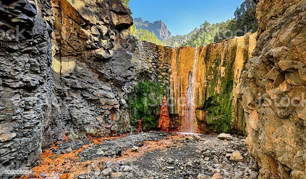 Wasserfall Cascada De Colores Im La Palma Kanaren Stockfoto und mehr Bilder von Abenteuer
