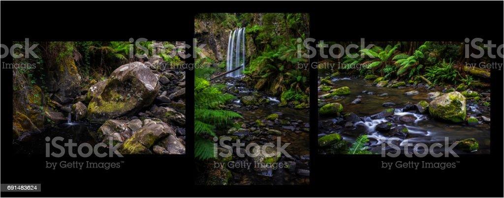 Waterfall cascade through rainforest - triptych. Great Otway National Park, Victoria, Australia. stock photo