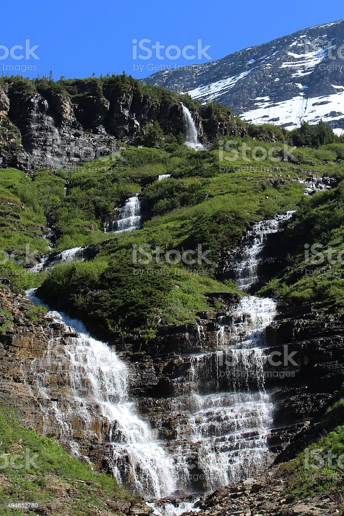 Waterfall - Cascades - Glacier NP stock photo