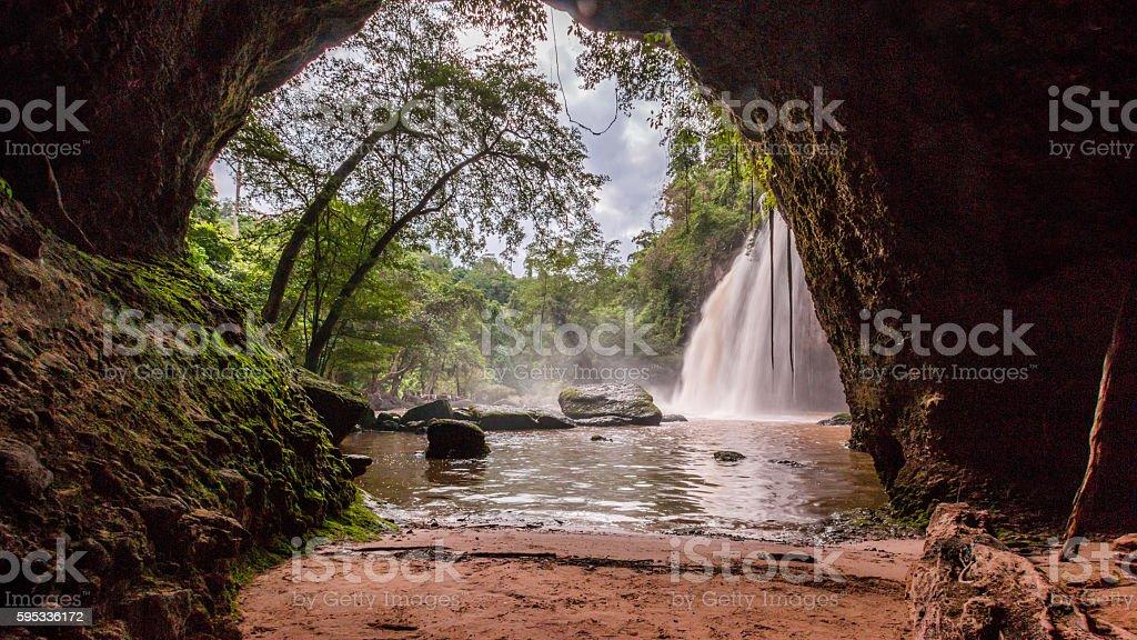 Waterfall cave, Haewsuwat waterfall at Khao Yai National Park, Thailand stock photo