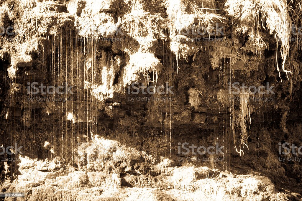 Waterfall drips below Ashgill Force Cumbria stock photo