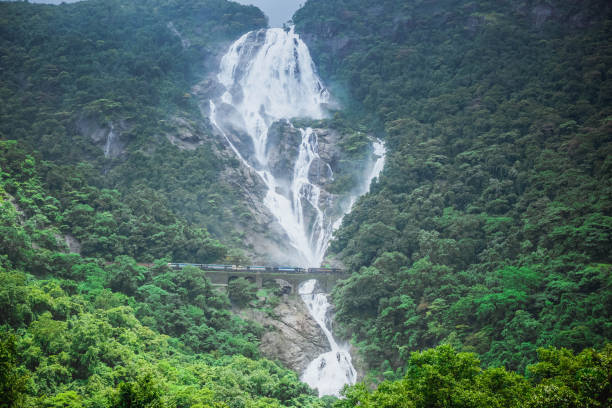 Waterfall Dudh Sagar and passing by the bridge train. India Indian nature goa stock pictures, royalty-free photos & images