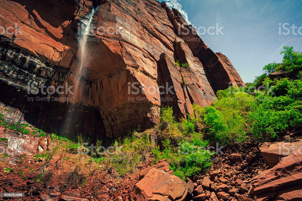 Waterfall from the Cliff, Zion National Park, Utah stock photo