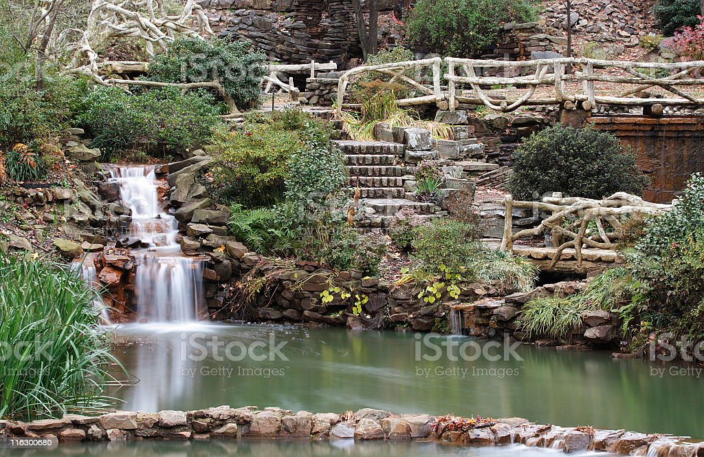 Waterfall Garden Park Landscaped Yard stock photo