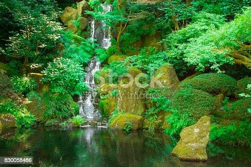 A small waterfall gently cascades down rocks into a calm koi pond in a Japanese Zen garden.