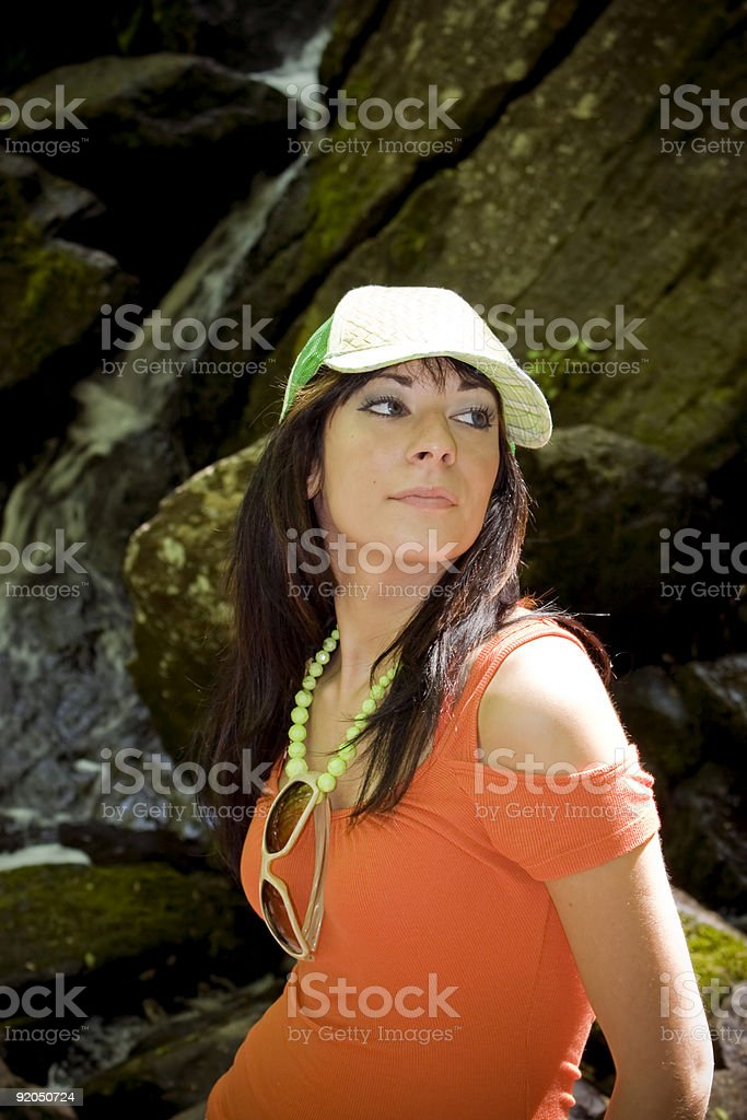 Waterfall Girl royalty-free stock photo