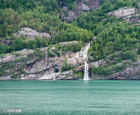 Beautiful waterfall, Hardangerfjord, Odda, Norway. Nikon D850. Converted from RAW.