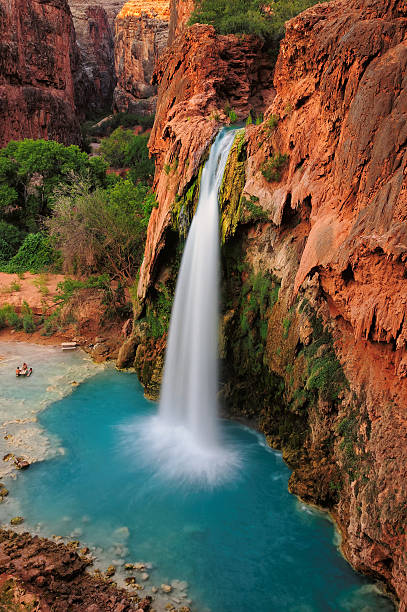 Waterfall Havasu Falls in Grand Canyon, Arizona, US stock photo