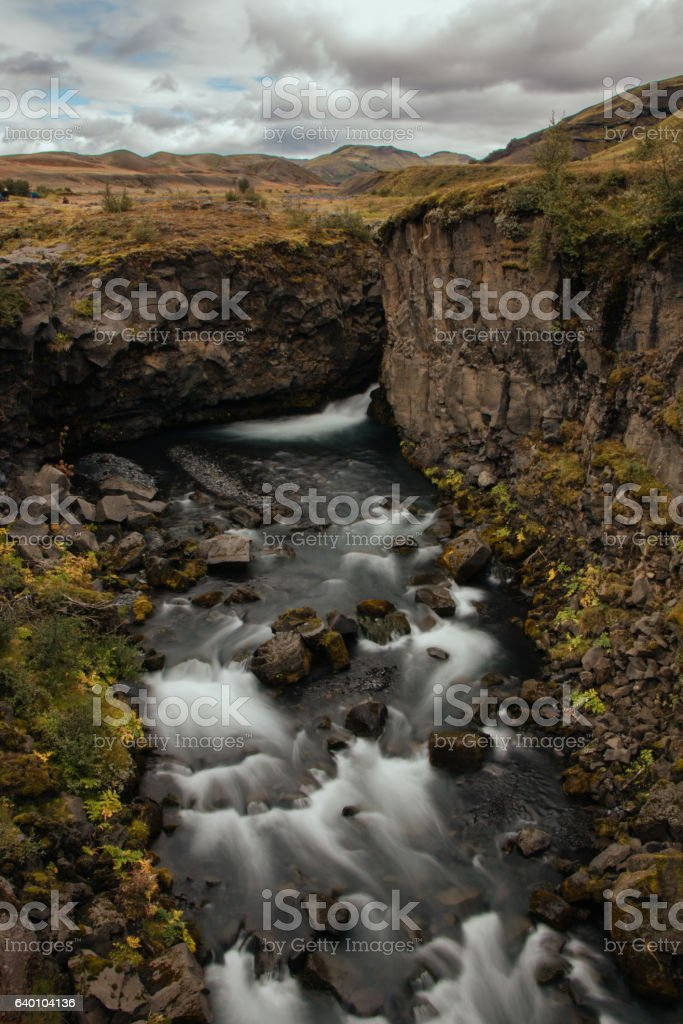 Waterfall, Iceland stock photo