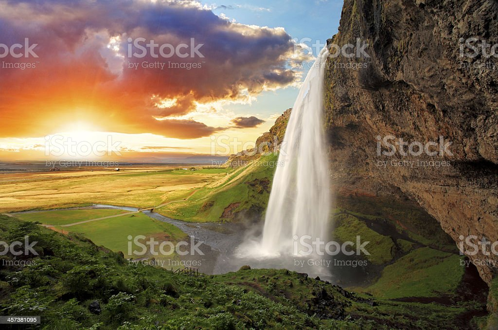 Waterfall, Iceland - Seljalandsfoss stock photo