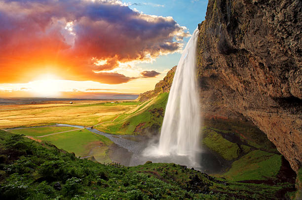 waterfall, iceland - seljalandsfoss - waterfall stock photos and pictures