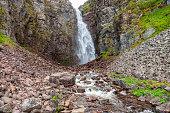 Waterfall in a beautiful rocky canyon landscape