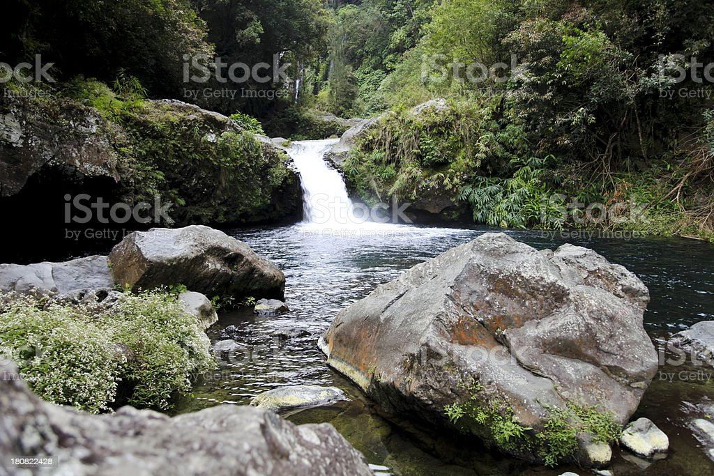 waterfall in a river with rocks reunion island east africa stock