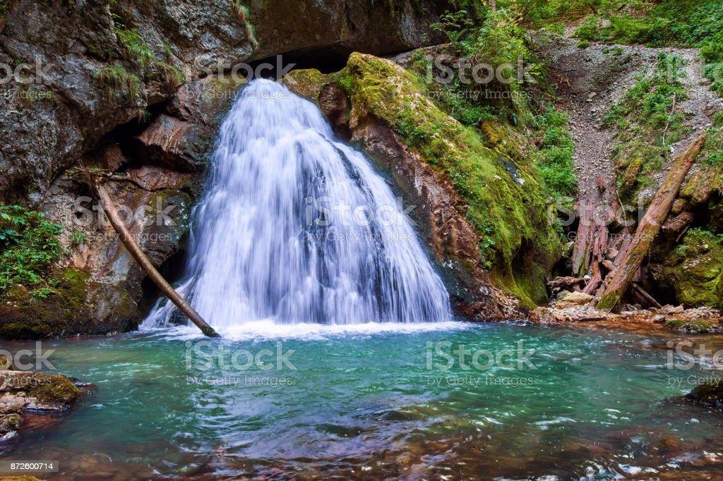 Waterfall in Apuseni, Romania stock photo