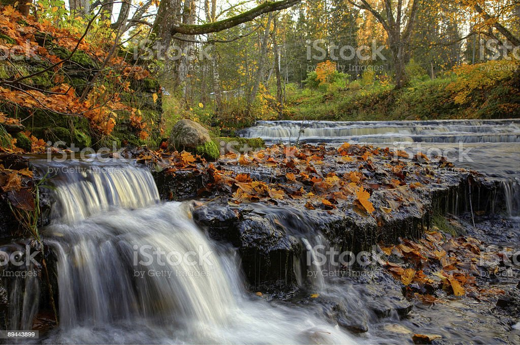 Waterfall in beautiful Autumn wood royalty-free stock photo