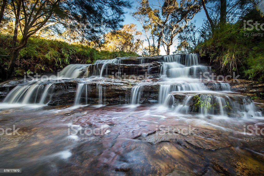 Waterfall in Blue mountains national park stock photo