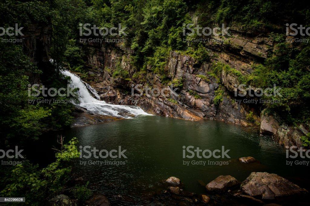 Waterfall in canyon stock photo