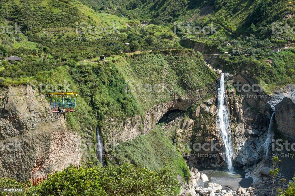 Waterfall in Cascades route, Banos, Ecuador stock photo