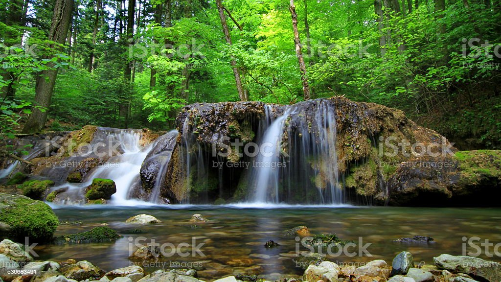 Waterfall in Cheile Nerei stock photo
