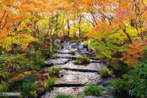 Beautiful waterfall in colorful autumn season in Hyogo city, Japan.