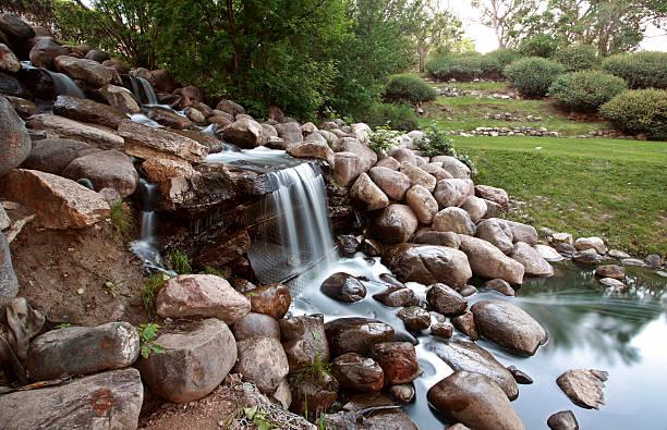 Waterfall in Crescent Park in Moose Jaw Saskatchewan stock photo
